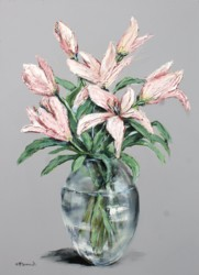 Original Painting on Panel - Lilies on Grey background