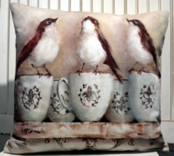 Cushion cover - Birds on French Mugs - Free Postage Australia Wide