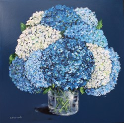 Original Painting on Panel - Blue Hydrangeas in a Glass Vase - postage included Australia wide