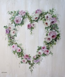 Original Painting on Canvas - Rose Heart Wreath - Postage is included Australia Wide