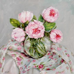 Original Painting on Panel - Peonies on floral fabrics - Postage included Australia wide
