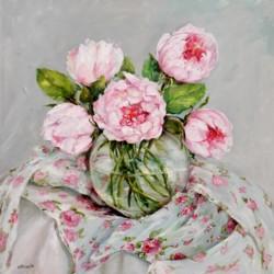 Original Painting on Panel - Peonies on floral fabrics - Postage included Australia wide