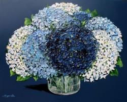Original Painting on Panel - Burst of Hydrangeas on Dark blue - Postage included Australia wide