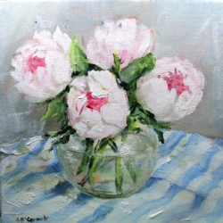 Original Painting on Canvas - Peonies on Stripes - 20 x 20cm series
