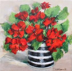 Original Painting on Canvas - Geraniums - 20 x 20cm series