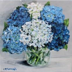 Original Painting on Canvas - Textured Hydrangeas - 20 x 20cm series
