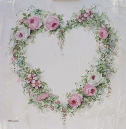 Original Painting on Canvas - Floral Heart Wreath - Postage is included Australia Wide