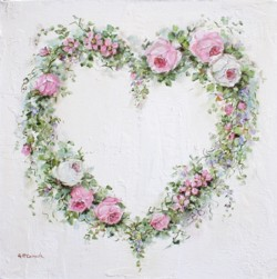 Original Painting on Canvas - Roses & Flowers Heart Wreath - Postage is included Australia Wide