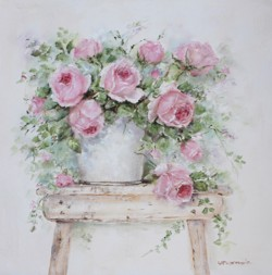Original Painting on Canvas - Flowers on a Stool - Postage is included Australia Wide