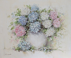 Original Painting on Canvas - Mixed Hydrangeas - Postage is included Australia Wide