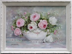 Original Painting - Pink & Cream Roses - Postage is included Australia Wide