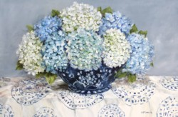 Original Painting on Panel - Hydrangeas on patterned fabric - Postage included Australia wide