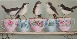 Original Painting on Canvas - Birds & Teacups all in a Row - cm series