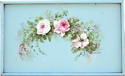 Folding Vintage Tray with Hand painted Rose design - Postage is included Australia wide