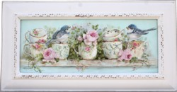 Original Painting - Birds and Tea Cups - Postage is included in the price Australia wide