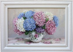 Original Painting - Hydrangeas on Florals - Postage is included in the price Australia wide