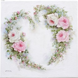 Original Painting on Canvas - Rosy Heart Wreath - Postage is included Australia Wide