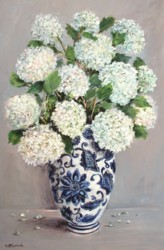 Original Painting on Panel - Snowballs in Blue & White Vase - Postage included Australia wide