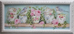 Original Painting - Birds and Tea Cups in an ornate frame - Postage is included in the price Australia wide