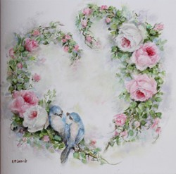 Original Painting on Canvas - Birds & Roses Heart Wreath - Postage is included Australia Wide