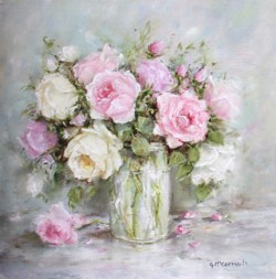 Original Painting on wood painting panel - Garden Roses in a Jar - Postage is included Australia Wide