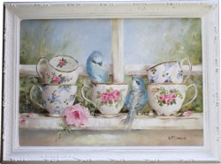 Original Painting - Birds & Teacups on the Window Sill - Postage is included Australia Wide