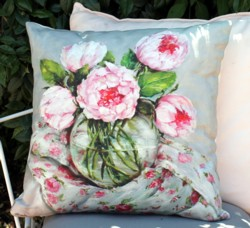 Cushion cover - Peonies on Floral Fabric - SOLD OUT