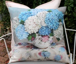Cushion cover - Hydrangeas on Floral Fabric  - Free Postage Australia Wide