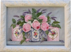 Original Painting - Roses & Lavenders in a Tea Caddy