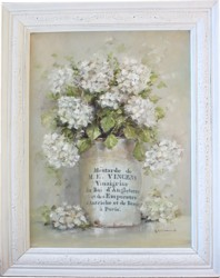 Mixed Media/Original Painting - French Mustard Pot with Hydrangeas - Postage is included Australia wide