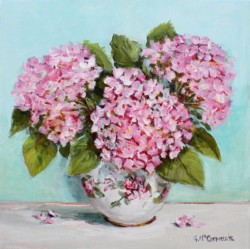 Original Painting on Canvas - Pretty pink hydrangeas