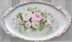 Original Painting on Revamped oval platter - Postage is included Australia Wide