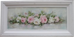 Original Painting - Long framed Assorted Laying Roses -Postage is included Australia Wide