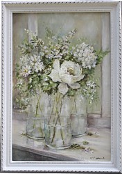 Original Painting - Bottles of Flowers - Postage is included Australia Wide
