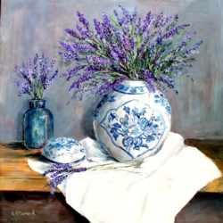 Original Painting on Panel - Still Life Lavenders - Postage included Australia wide