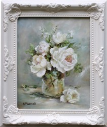 Original Painting - Blooming White Roses - Postage is included Australia Wide