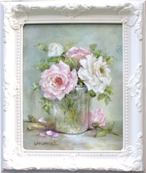 Original Painting - IceBerg & Heaven Scent Roses - Postage is included Australia Wide