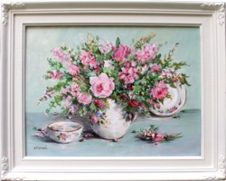 Original Painting - Cottage Flowers & China - Postage is included in the price Australia wide