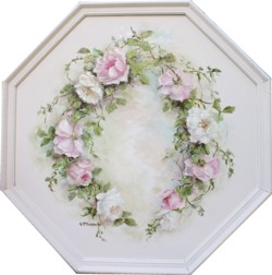 Original Painting - Octagonal Rose Arrangement  - Postage is included Australia Wide