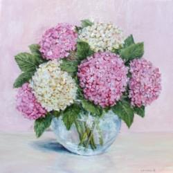 Original Painting on Panel - Cream & Pink Hydrangeas