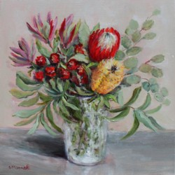 Original Painting on Canvas - Native Arrangement - 35 x 35cm