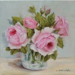 Original Painting on Canvas - Roses in Glass - 20 x 20cm series