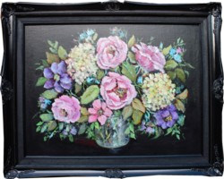 Original Painting - Flowers on Black - FREE delivery included Australia wide only