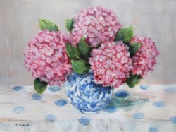 Original Painting on Canvas - Pink Hydrangeas on blue and white
