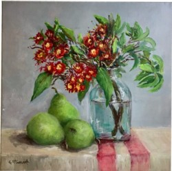 Original Painting on Canvas - Pears under Natives