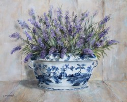 Original Painting on Panel - Lavender in Blue & White Tureen -