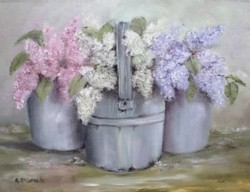 Ready to Frame Print - Lilacs in Tin Pails - Postage is included Worldwide
