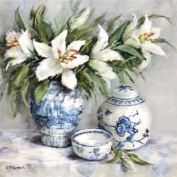 Ready to hang Print - Lilies in Blue & White - FREE POSTAGE Australia wide