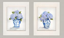 Water colour Original  - PAIR Hydrangeas in B & W Ginger Jars