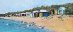 Original Painting on Panel - Mt Martha Beach Huts - free postage Australia wide